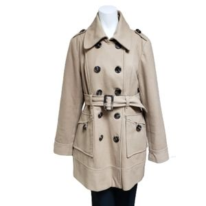 Ricki's tan wool blend button up trench peacoat